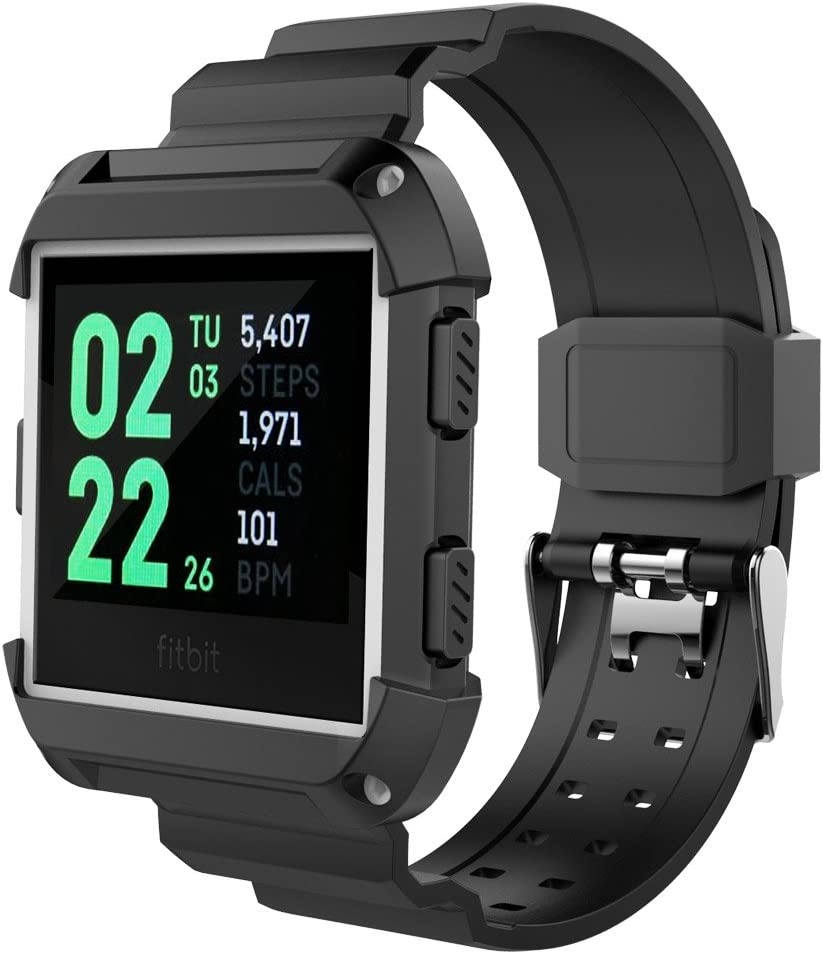 UMTELE Compatible for Fitbit Ionic Accessory, [Rugged Pro] Resilient Protective Case with Strap Bands Replacement for Fitbit Ionic Smart Watch