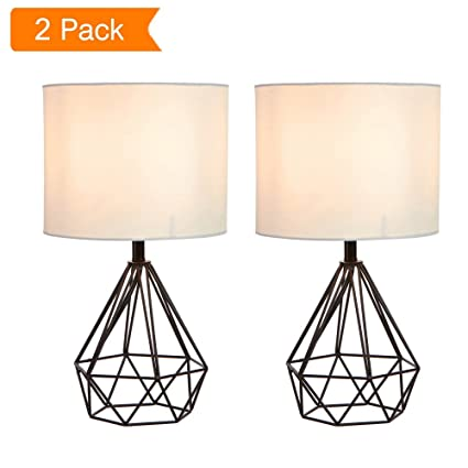 SOTTAE 16u0026quot; Modern Lamp Black Hollowed Out Base Livingroom Bedroom  Bedside Table Lamp, Desk