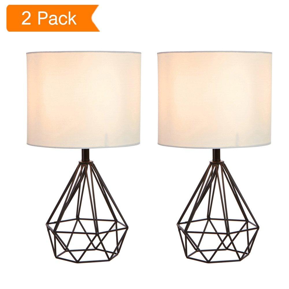 SOTTAE 16'' Modern Lamp Black Hollowed Out Base Livingroom Bedroom Bedside Table Lamp, Desk Lamp With White Fabric Shade(Set of 2)