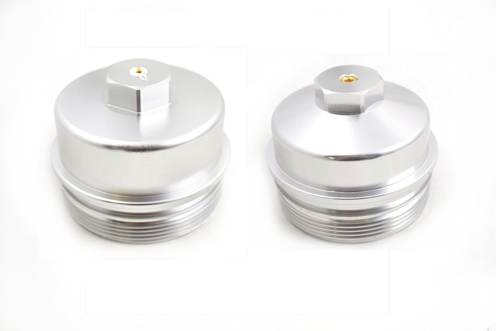 Polished Billet Aluminum Fuel & Oil Filter Caps 2008-2010 Ford 6.4L Powerstroke Diesel 6.4 by Rudy's Diesel