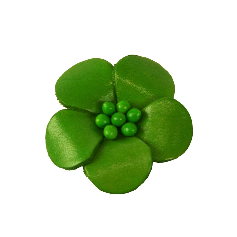 Veilchen mit Perlen Anstecker aus Leder hellgrün - Durchmesser: ca 4 cm