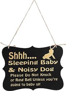 WINOMO Baby Sleeping Sign Baby Door Sign Do Not Disturb Hanger Sign Baby Room Hanging Wooden Decorative