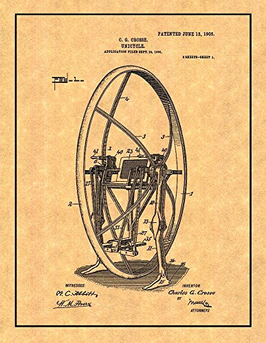 Unicycle Patent Print Art Poster with Border