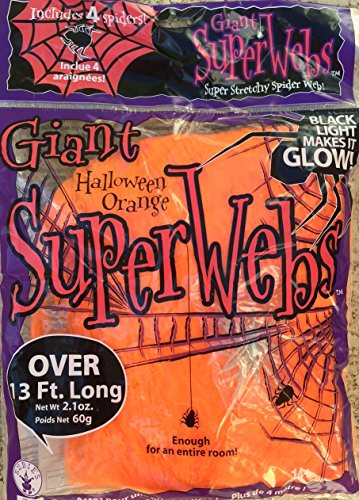 13 FEET STRETCHY - JUMBO ORANGE HALLOWEEN SPIDER WEBS + 4 SPIDERS GLOWS UNDER BLACK (Black Light Halloween Decorations)