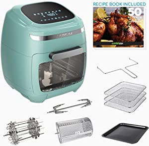 GoWISE USA GW77723 11.6-Quart Air Fryer Toaster Oven with Rotisserie & Dehydrator + 50 Recipes, Vibe Mint