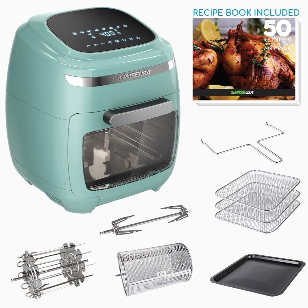 GoWISE USA GW77723 11.6-Quart Air Fryer Toaster Oven with Rotisserie & Dehydrator + 50 Recipes, Vibe Mint by GoWISE USA
