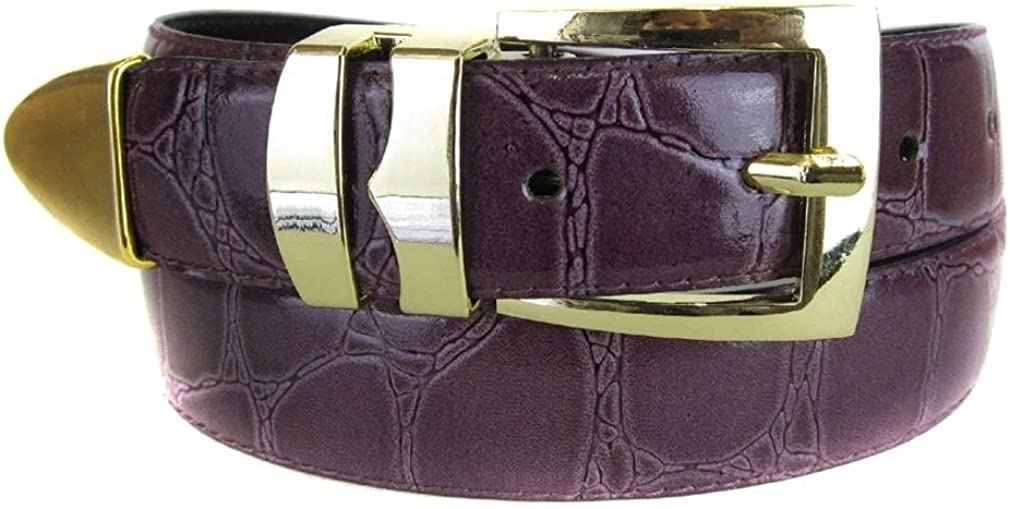 Purple Bonded Alligator Skin High Quality Fashion Dress Belt