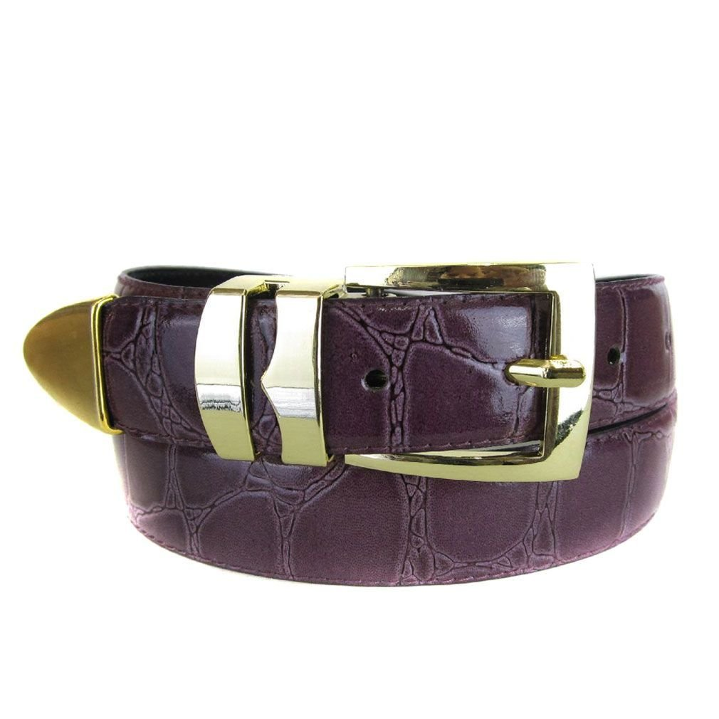 Purple Bonded Alligator Skin High Quality Fashion Dress Belt