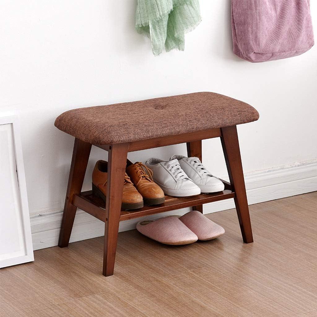 棚, 木製の靴ラックベンチ、廊下の玄関、玄関、クローゼット、寝室、等完璧なベンチシートストレージの玄関ファブリック靴ラックストレージオーガナイザー(色:ナチュラル、サイズ:ロング60センチ)、サイズ:ロング90センチ、色:ナチュラル (Color : Brown, Size : Long 60cm)