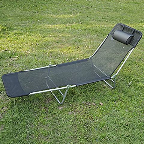 Outdoor Folding Reclining Beach Sun Patio Chaise Lounge Chair Pool Lawn Lounger Black - Over Dual Reclining Loveseat