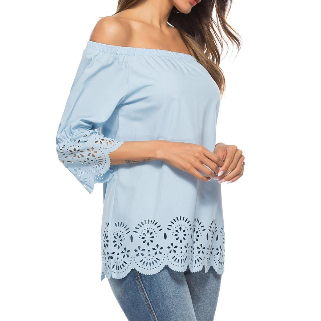 Off Shoulder Blouse for Womens, FORUU Casual Hollow Out 3/4 Sleeve Tops T-Shirt at Amazon Womens Clothing store:
