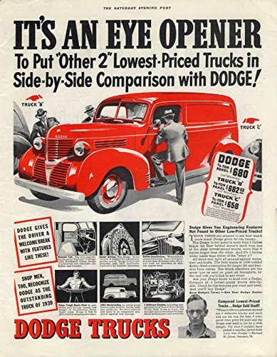 (It's an Eye Opener! Dodge Panel Delivery Truck ad 1939 P )