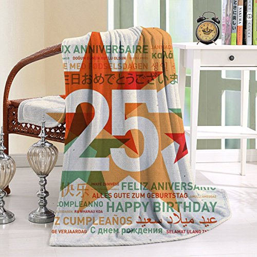 HAIXIA Blanket 25th Birthday Vintage Colored Stars and Greetings in Different Languages - Oak Mall White