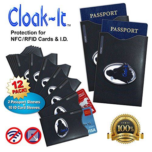 Cloak-It RFID/NFC Cards Protector, Set of 10 with 2 Passport Holders, Black