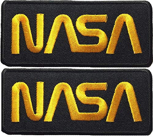 Set 2 of Nasa Space Shuttle Vector Discovery Agency Houston USA Embroidered Appliques Hat Cap Polo Backpack Clothing Jacket Shirt DIY Sewing Iron On Costume Badge Logo Patch - Black -