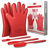 BakeitFun Heat Resistant Silicone Oven Mitts Set | FDA and German Grade Approved | Includes a Pair Of Gloves, Spatula Set (2) and Brush Basting | Double Bbq Grilling Mittens | Perfect Christmas Gift