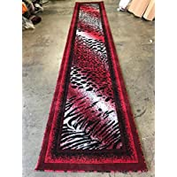 Animal Skin Leopard Tiger Print Long Runner Rug Red/black Design 517 (31 Inch X 15 Feet 8 Inch)