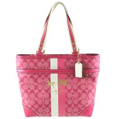a5866885dd3c Amazon.com  Coach Heritage Stripe Signature Book Bag Purse Tote 13196  Magenta  Clothing