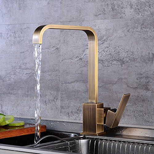 Commercial Single Lever Pull Down Kitchen Sink Faucet Brass  Antique Kitchen Faucet Square Hot And Cold Mixing Valve Faucet European Antique Sink Sink Faucet 360 ° Rotating Single Hole Faucet ()