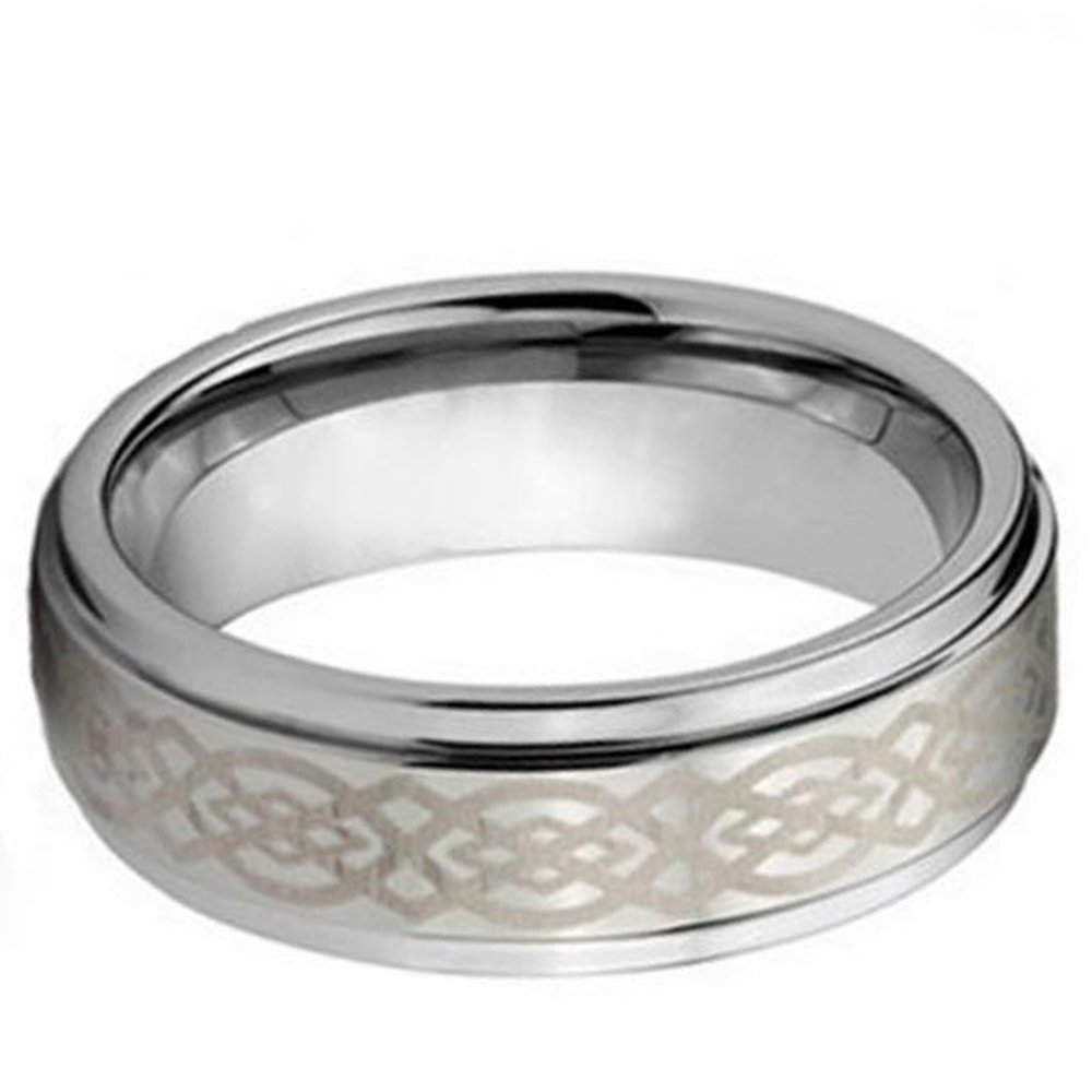 LAMUCH 8mm Mens Silver Tungsten Carbide Ring Laser Engraved Celtic Knot Pattern Wedding Bands