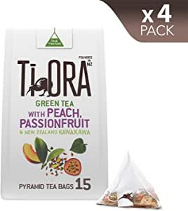 Ti Ora Green Tea - with Peach, Passionfruit & New Zealand Kawakawa - 4 Packs of 15 Pyramid Tea Bags (60 Serves)