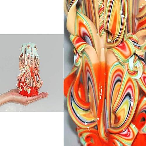 Idée Cadeau Crémaillère Couple.Cadeau Crémaillère Couple Bougie Sculptée Artisanale Orange