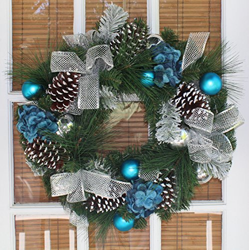 Sapphire Decorated Christmas Wreath 22 Inch - All Weather Outdoor Artificial Wreath That Lasts For Years, Beautiful Blue Colors Show From The Street, Beautiful White Gift Box And Hanging Loop Included Christmas Wreaths