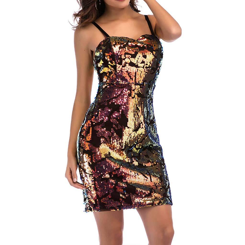 IEasⓄn Women Dress, Sexy Off Shoulder Women Nightclub Sequin Sling Mini Dress Rose Gold