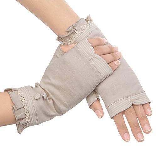 Kenmont mujeres del verano de la protección solar ultravioleta al aire libre 100% de algodón guantes de conducción mitones