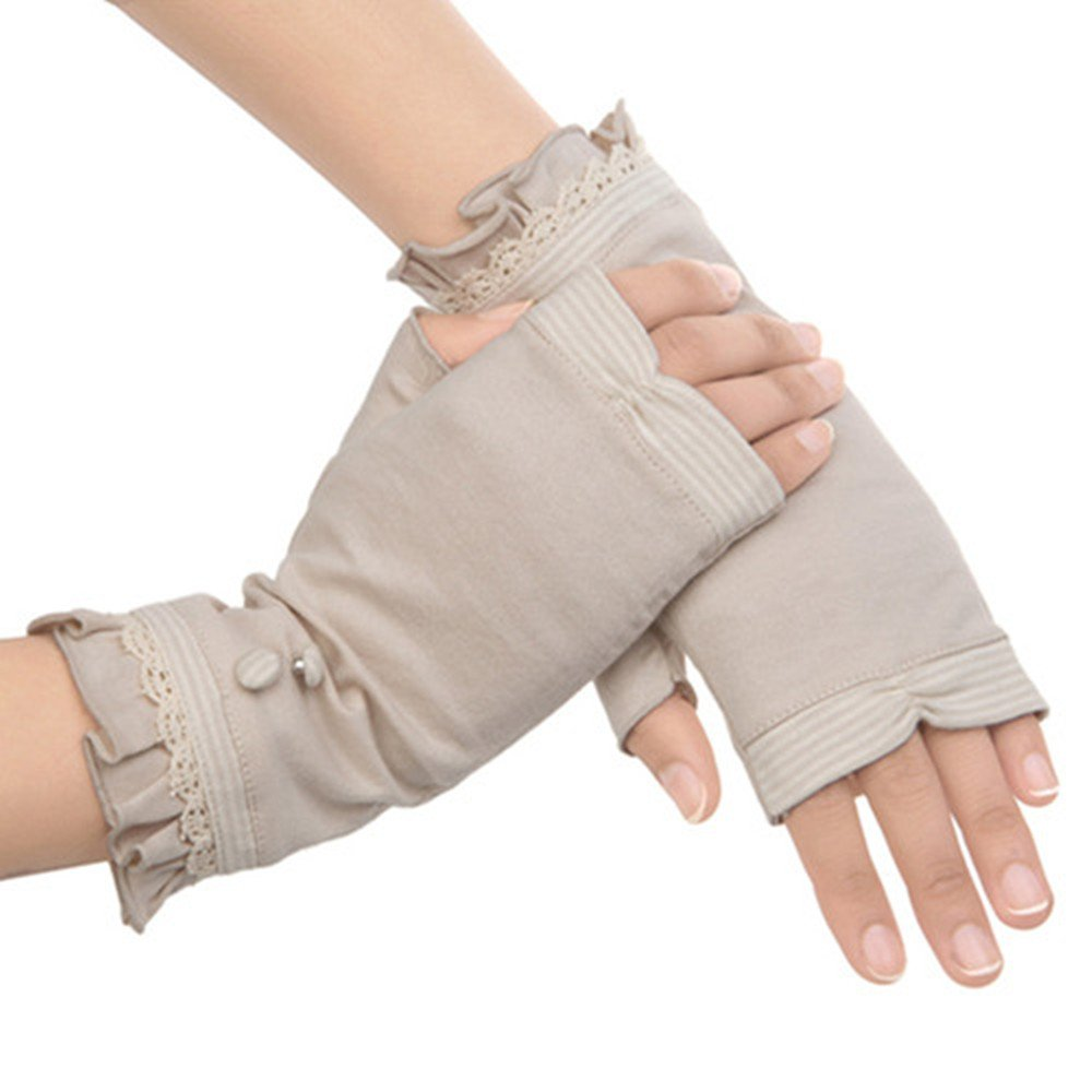 Kenmont Summer Women Sun Uv Protection Cotton Outdoor Fingerless Driving Gloves (Beige Color)