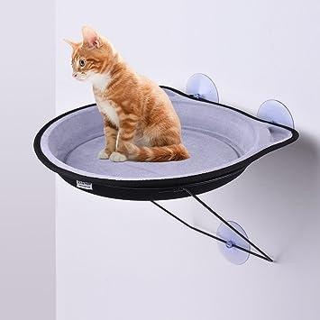 Decdeal Hamaca para gato con ventana, con cable de metal de succión resistente para hasta 15 kg para gato y gato: Amazon.es: Hogar