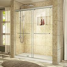 DreamLine Charisma Frameless Bypass Shower Door and SlimLine 36-Inch by 60-Inch Shower Base Left Hand Drain, DL-6943L-04CL, Brushed Nickel Finish