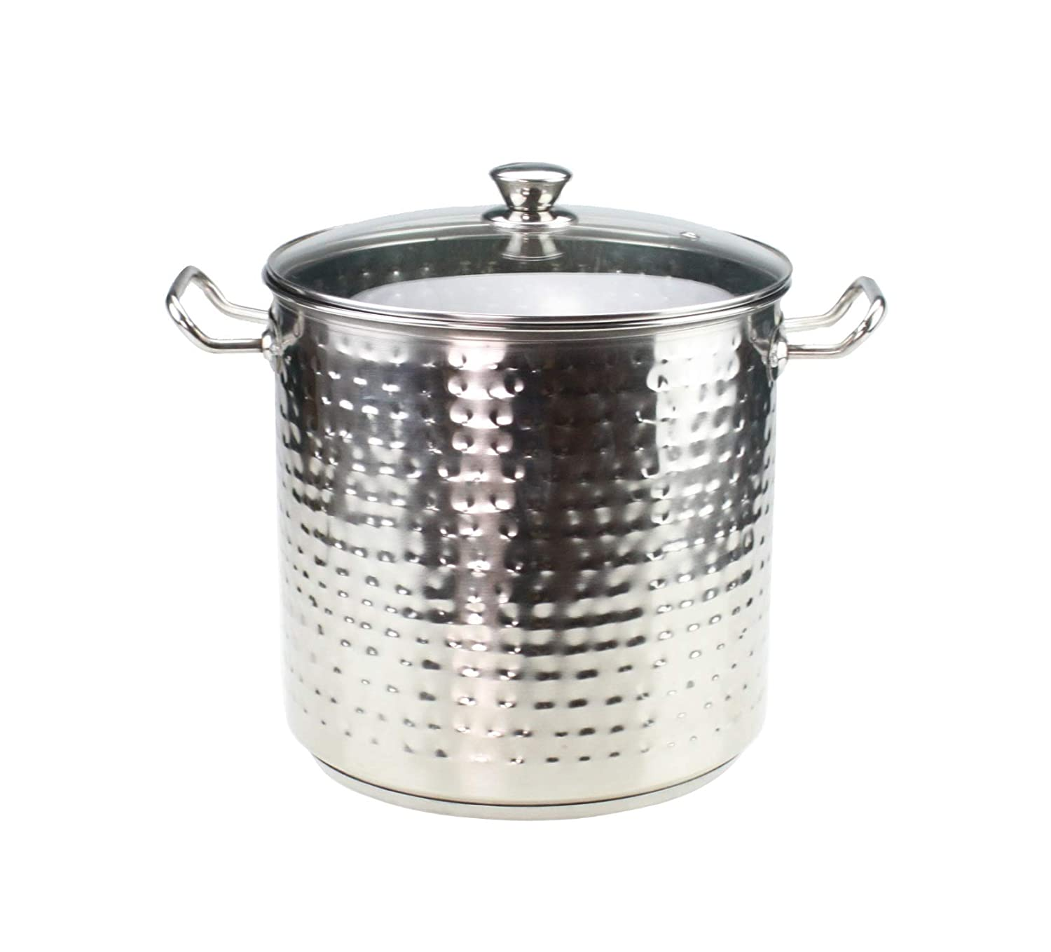 Stainless Steel Induction Stock Pot with Glass Lid Hammered Finish Deep Glass Lid Large Stock Pot Cooking Pot Induction Base Bottom with Handles 7.5L/23cm, 11L/25cm, 15L/28cm & 19L/30cm (7.5L / 23cm) GK Global Kitchen