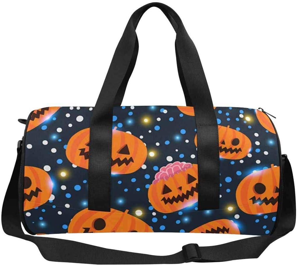 INTERESTPRINT Galaxy Halloween Pumpkin Gym Duffle Bag Waterproof Travel Weekender Bag
