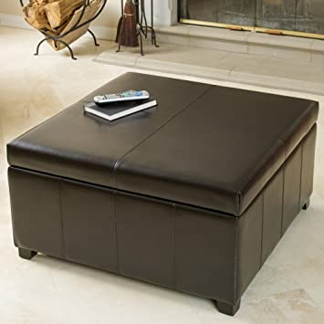 Amazoncom Leather Square Storage Ottoman KitchenDining