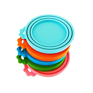 DYBEN Pet Can Covers/Dog Cat Food Can Lids/Universal BPA Free/Silicone Pet Food Can Lids Covers/Fits All Standard Size Dog and Cat Can Tops for Pet Food Storage
