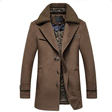 f8e1bacc0534 iBaste Herren Warm Wollmantel mit Pelzkragen Gefüttert mit Baumwolle  Wintermantel Winterjacke Winter Herbst Jacket Herren Mantel