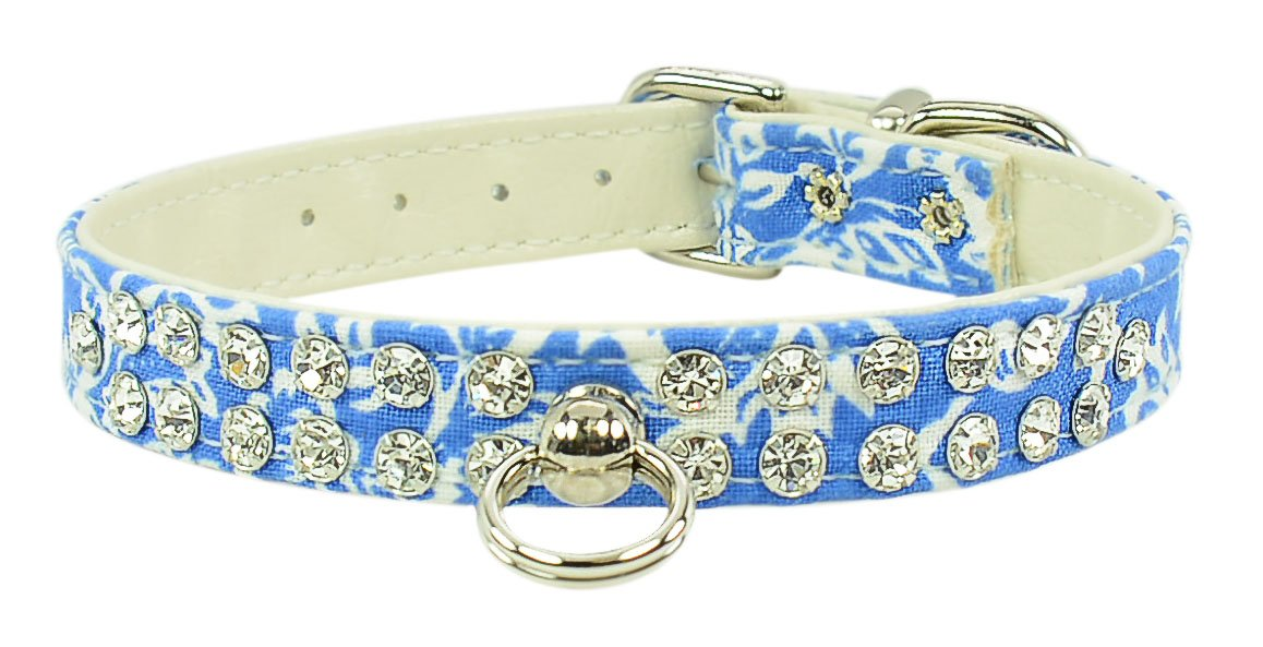Evans Collars 1 2  Jeweled Collar, Size 12, Damask, bluee