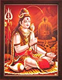 Lord Shiva Doing Meditation on Himlaya with Shivling, a Poster Painting with Frame for Hindu Religious Worship Purpose
