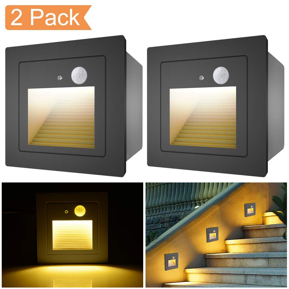 Elitlife Motion Sensor LED Stairs Step Night Light Indoor//Outdoor Wall Recessed Garden Kitchen Plinth Patio Stairway Lighting Guide Lamp 4 Pack 3W Wall Recessed Stair Lights Warm Withe