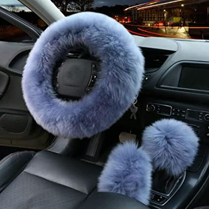 Winter Centre Console Cover Set 3 Universal Warm Plush Steering Wheel Protector-Pink Car Plush Steering Wheel Cover