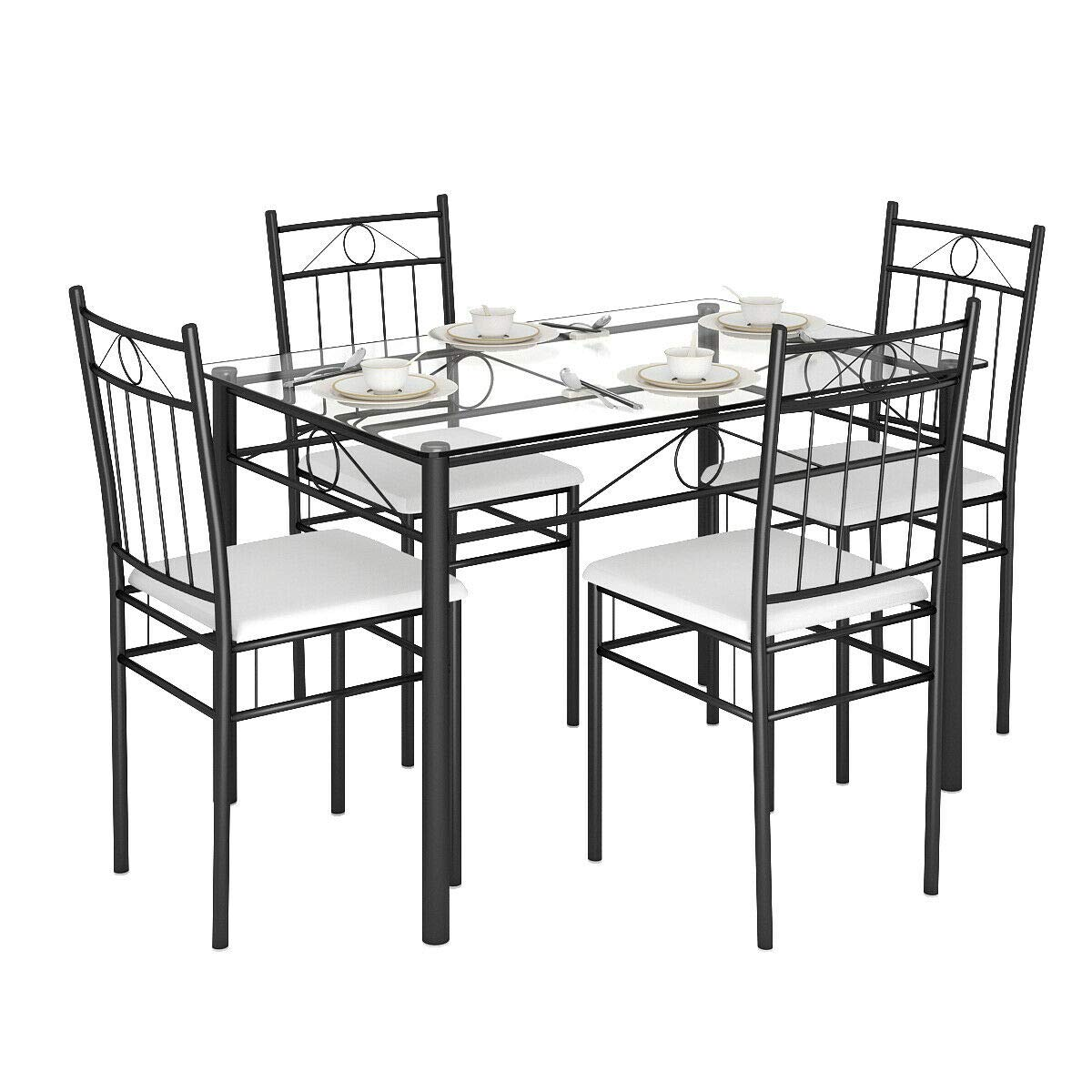 Tangkula 5 Piece Dining Table Set Glass Top Metal Dining Set Kitchen Breakfast Furniture Dinning Table with Chairs by Tangkula