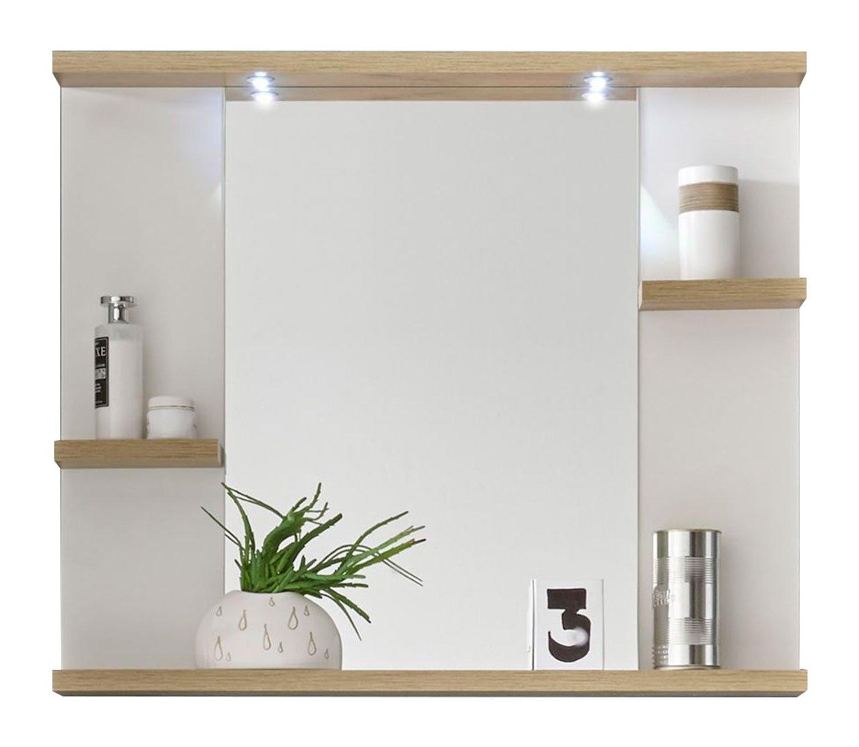 Badezimmerspiegel Badspiegel Wandspiegel SVEA 2   Dekor   Weiß   Eiche Rivera   LED-Beleuchtung