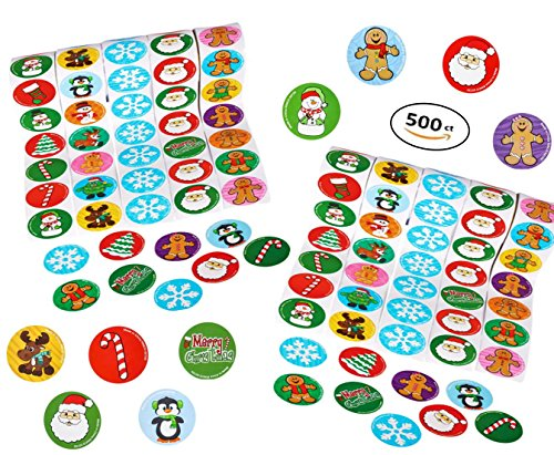 Play Kreative Christmas Holiday Sticker Roll Assortment For Scrapbooking, Party Decorations, Holiday Christmas Cards, Stocking Stuffers – 500 Stickers (Christmas Roll Stickers)