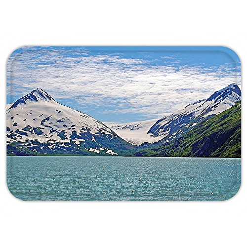 VROSELV Custom Door MatLake House Decor Collection Mountain and Lake in Anchorage Alaska Springtime Sunny Day Scenic View Picture White Green - In Women Anchorage