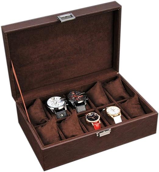 Vintage Caja de Reloj para 10 Relojes Compartimentos de Piel ...