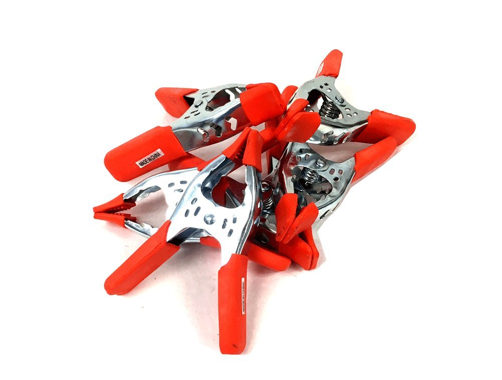 6'' Inches Clamp Heavy Duty Metal Spring Clamps – Orange PVC Coated (Orange 6pc)