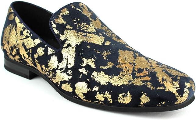 /ÃZARMAN Mens Slip On Velvet Gold Leopard Print Dress Shoes Loafers LS21