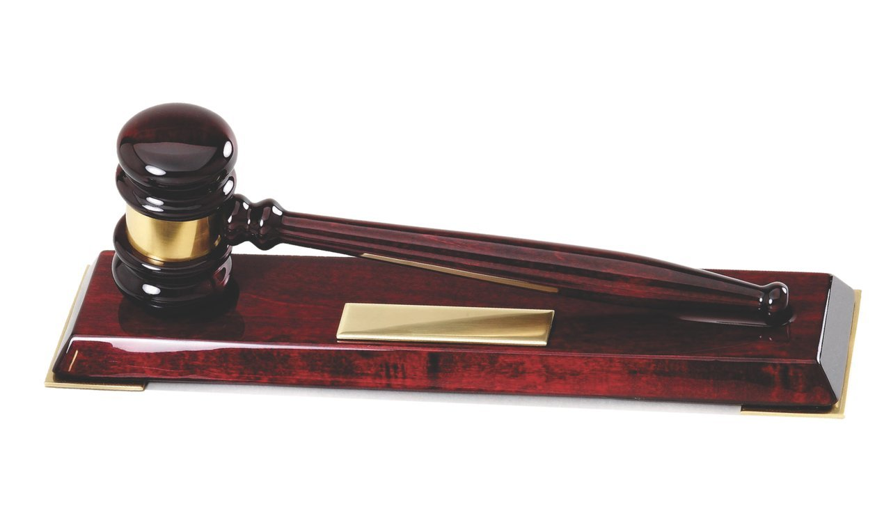 Woltman - Rosewood Piano Finish Gavel Desk Plaque