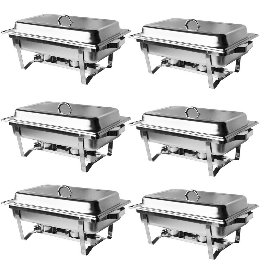 Olymstore 6 Pack 8 Quart Chafing Dish,Stainless Steel Catering Serve Chafer,Restaurant Food Warmer, Full Size Rectangular Buffet Stove with Folding Frame for Party